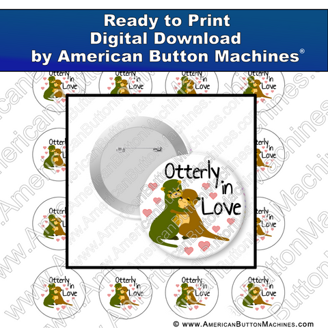 Digital Download, for buttons, digital download for buttons, otter, love