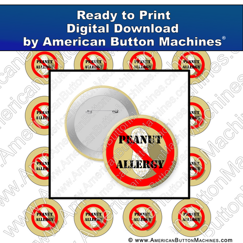 Digital Download, Digital Download for Buttons, peanut, allergy, peanut allergy