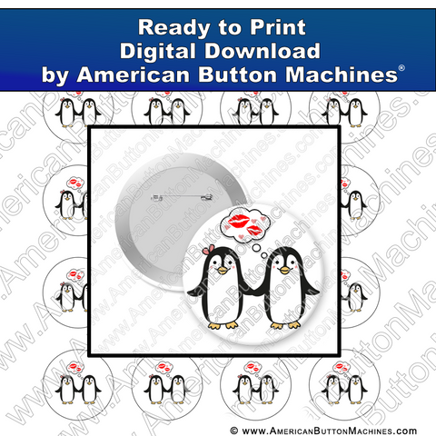 Digital Download, For Buttons, Digital Download for Buttons, penguins, love, valentine, anniversary