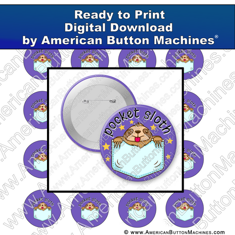 Digital Download, For Buttons, Digital Download for Buttons, sloth, pet, pocket pet