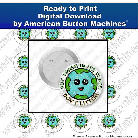 Digital Download, For Buttons, Digital Download for Buttons, Earth, litter, trash