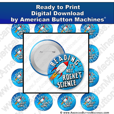 Digital Download, For Buttons, Digital Download for Buttons, rocket science, space, rocket, reading, books, library