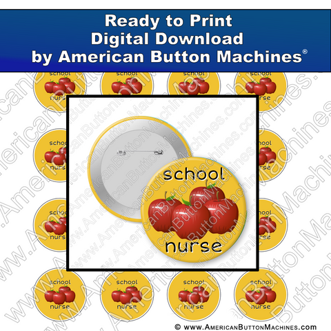 Digital Download, Digital Download for Buttons, School, Nurse. School nurse