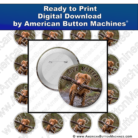 Digital Download, for buttons, digital download for buttons, dog, puppy, size, stick