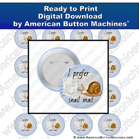 Digital Download, Digital Download for Buttons, snail, mail, snail mail