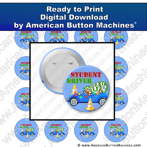 Digital Download, For Buttons, Digital Download for Buttons, student driver, student