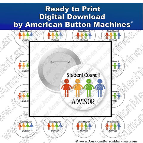 Digital Download, For Buttons, Digital Download for Buttons, student, student council, advisor
