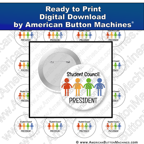Digital Download, For Buttons, Digital Download for Buttons, student, student council, president, class president