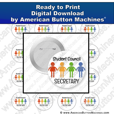 Digital Download, For Buttons, Digital Download for Buttons, school, student, student council, secretary