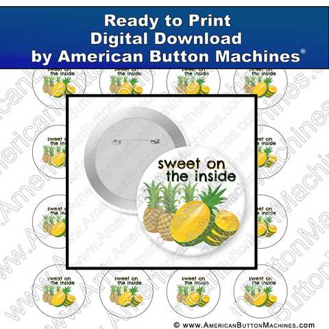 Digital Download, For Buttons, Digital Download for Buttons, Pineapple, sweet, fruit