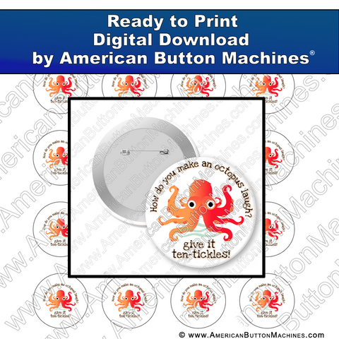 Digital Download, for buttons, digital download for buttons, octopus, tickle