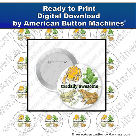 Digital Download, for buttons, digital download for buttons, frog, toad, awesome