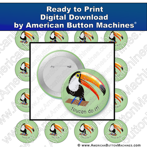 Digital Download, Digital Download for Buttons, toucan, bird