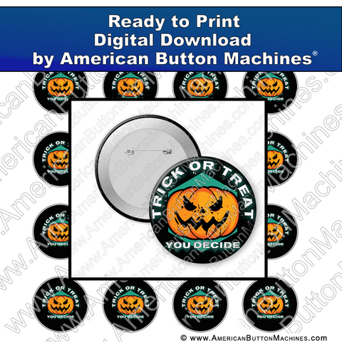 Digital Download, For Buttons, Digital Download for Buttons, trick or treat, jack-o-lantern, Halloween