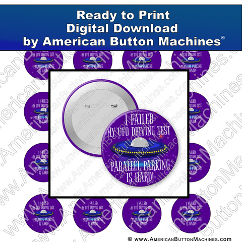 Digital Download, For Buttons, Digital Download for Buttons, UFO, space, driving, test, parallel parking