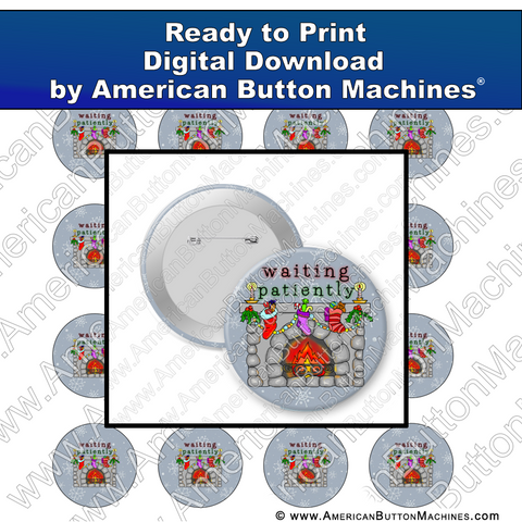 Digital Download, for buttons, digital download for buttons, Santa, Christmas, Waiting