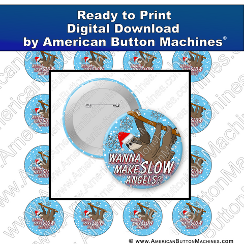 Digital Download, For Buttons, Digital Download for Buttons, sloth, Santa, snow, angels, winter, Christmas