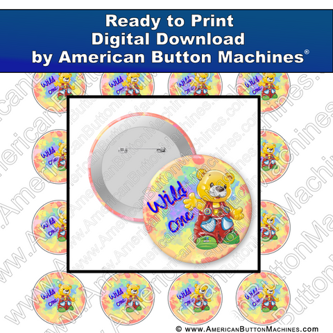Digital Download, for buttons, digital download for buttons, Wild One, Teddy Bear