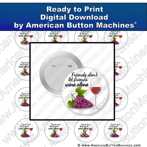 Digital Download, Digital Download for Buttons, wine, friends