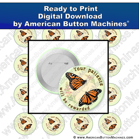 Digital Download, for buttons, digital download for buttons, butterflies, patience