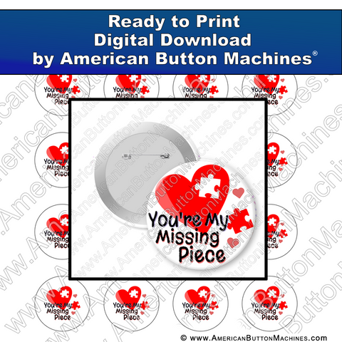 Digital Download, for buttons, digital download for buttons, love, missing piece, complete,