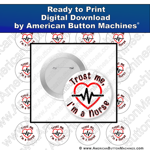 Digital Download, for buttons, digital download for buttons, nurse, trust