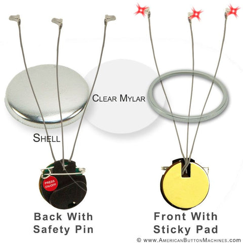 "3"" Flashing Button Kit - LED Trio"