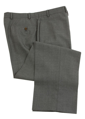 Ralph Lauren Men's Flat Front Solid Medium Gray Wool Dress Pants