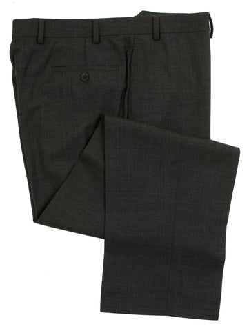 Famous American Designer Men's Flat Front Solid Charcoal Gray Wool Dress Pants