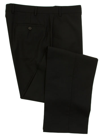 Famous American Designer Men's Flat Front Solid Black Wool Dress Pants