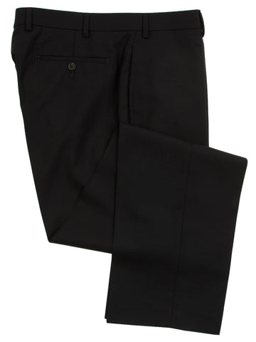 Famous American Designer Men's Flat Front Solid Navy Blue Wool Dress Pants