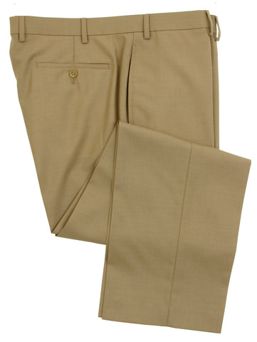 Famous American Designer Men's Flat Front Solid Tan Wool Dress Pants