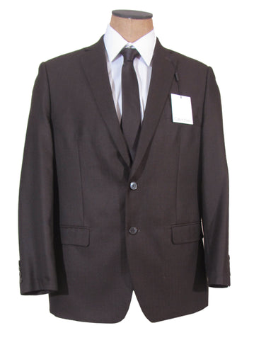 Calvin Klein Mens 2 Button Brown Slim Fit Sport Coat Jacket