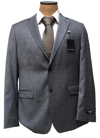 Ralph Lauren Mens Gray Windowpane Slim Fit Wool Suit