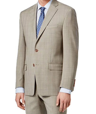 Ralph Lauren Mens Tan Glen Plaid Wool Suit