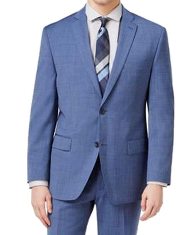 Michael Kors Mens Blue Pindot Classic Fit Wool Suit