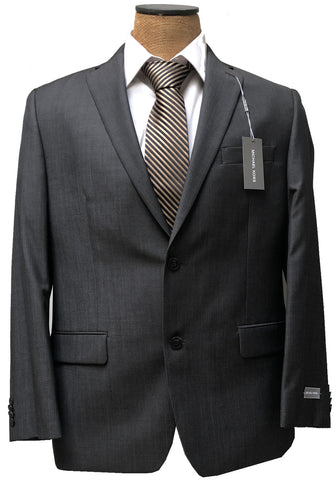 Michael Kors Mens Charcoal Gray Herringbone Wool Suit