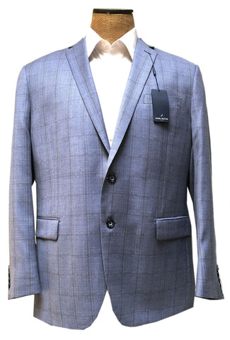 Daniel Hechter Mens Slate Blue Windowpane Wool Sport Coat Jacket