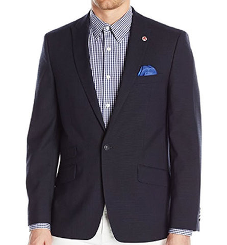 Ben Sherman Mens Navy Blue Weave Slim Ft Sport Coat Jacket