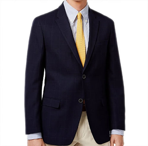 Tommy Hilfiger Mens Navy Blue Wool Blend Sport Coat Jacket