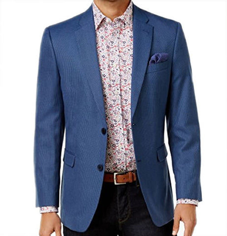 Tommy Hilfiger Mens Blue Check Sport Coat Jacket