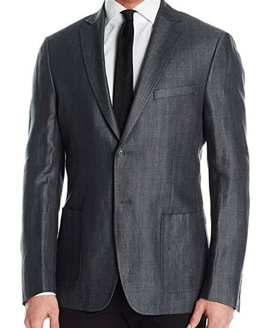 DKNY Mens Charcoal Gray Herringbone Linen Sport Coat Jacket