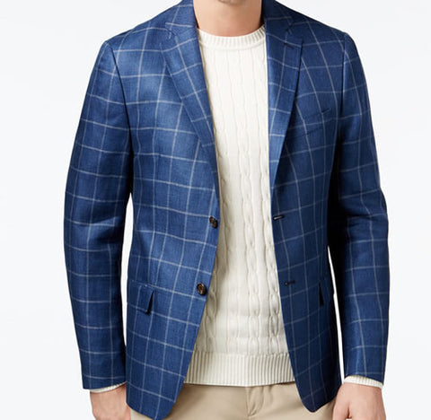 Ralph Lauren Mens Navy Blue Windowpane Linen Sport Coat Jacket