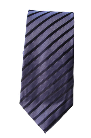 Brand Q Mens Striped Purple Neck Tie + Pocket Square