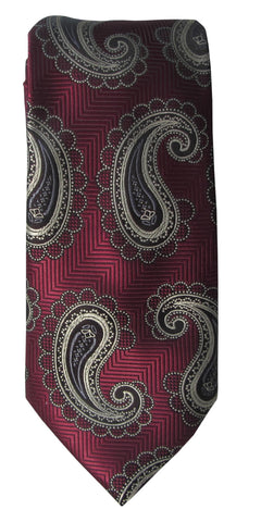 Brand Q Mens Paisley Maroon Neck Tie + Pocket Square