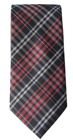 Brand Q Mens Plaid Gray Salmon Neck Tie + Pocket Square