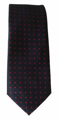 Brand Q Mens Dot Navy Red Skinny Neck Tie + Pocket Square