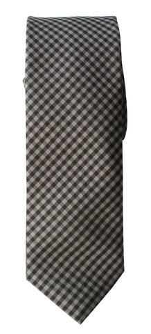 Brand Q Mens Check Khaki Brown Skinny Neck Tie + Pocket Square