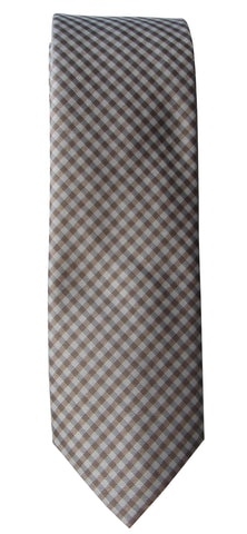 Brand Q Mens Check Taupe Gray Skinny Neck Tie + Pocket Square