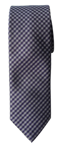 Brand Q Mens Check Purple Skinny Neck Tie + Pocket Square